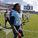 Tennessee Titans running back Chris Johnson (28) walks off the field before an NFL football game against the Houston Texans Sunday, Dec. 29, 2013, in Nashville, Tenn The Associated Press