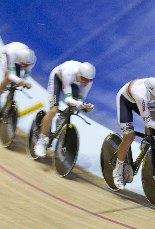 The Australia team qualifies for the final of the Men's Team Pursuit during the Track Cycling World Cup at the National Cycling Centre, Manchester, England, Friday, Nov. 1, 2013