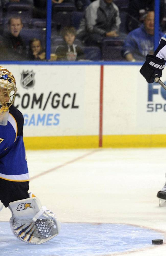 St. Louis Blues' goalie Jaroslav Halak (41), of Slovakia, blocks a shot by Winnipeg Jets' Grant Clitsome (24) during the first period of an NHL hockey game Tuesday, Oct. 29, 2013, in St. Louis