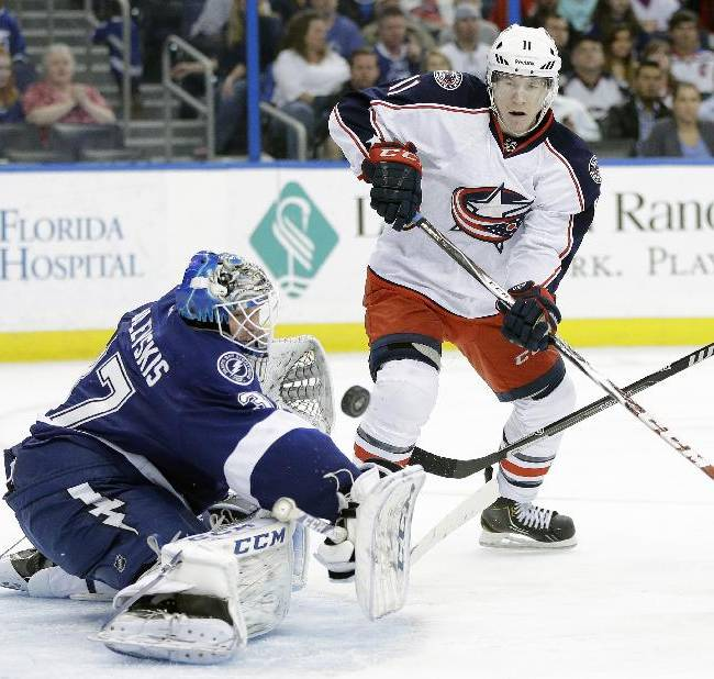Tampa Bay Lightning goalie Kristers Gudlevskis (37), of Latvia, makes a save on a shot by Columbus Blue Jackets left wing Matt Calvert (11) during the third period of an NHL hockey game Friday, April 11, 2014, in Tampa, Fla. The Lightning won the game 3-2. AP Photo/Chris O'Meara)