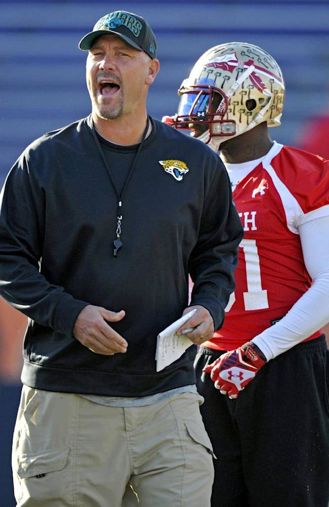 South Squad coach Gus Bradley, of the Jacksonville Jaguars, calls to his players during Senior Bowl college football practice at Ladd-Peebles Stadium, Thursday, Jan. 23, 2014, in Mobile, Ala