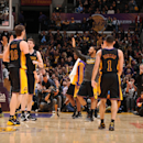 The Los Angeles Lakers celebrate their victory over the Sacramento Kings at Staples Center on February 28, 2014 in Los Angeles, California. (Photo by Evan Gole/NBAE via Getty Images)