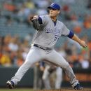 CORRECTS OPPONENT TO KANSAS CITY ROYALS, INSTEAD OF SEATTLE MARINERS - Kansas City Royals pitcher Will Smith delivers against the Baltimore Orioles in the first inning of a baseball game Thursday, Aug. 9, 2012, in Baltimore. (AP Photo/Gail Burton)