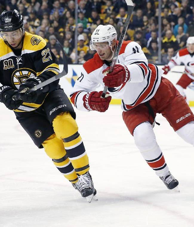 Boston Bruins' Chris Kelly (23) and Carolina Hurricanes' Jordan Staal (11) battle for the puck in the first period of an NHL hockey game in Boston, Saturday, March 15, 2014