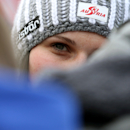 Anna Fenninger stands in the finish area after completing training for an alpine ski, women's World Cup downhill in Val d'Isere, France, Friday, Dec. 19, 2014. Austrian skier Anna Fenninger posted the fastest time in a World Cup downhill training run ahead of countrywoman Regina Sterz and Lindsey Vonn on Friday. (AP Photo/Pier Marco Tacca)