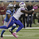 In this Oct. 25, 2014, file photo, Buffalo Bills rookie wide receiver Sammy Watkins (14) catches a 20-yard pass to set up a 56-yard game-winning field goal as Detroit Lions cornerback Rashean Mathis (31) closes in for a tackle in the fourth quarter of an