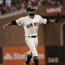 San Francisco Giants pitcher Sergio Romo reacts after the eighth inning of Game 4 of baseball's World Series against the Kansas City Royals Saturday, Oct. 25, 2014, in San Francisco The Associated Press