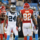 Carolina Panthers' Josh Norman (24) shouts at Kansas City Chiefs' Dwayne Bowe (82) after a play during the first half of a preseason NFL football game in Charlotte, N.C., Sunday, Aug. 17, 2014 The Associated Press