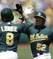 Oakland Athletics' Yoenis Cespedes, right, is congratulated by Jed Lowrie, left, after Cespedes hit a two run home run off Texas Rangers' Matt Garza in the first inning of a baseball game Saturday, Aug. 3, 2013, in Oakland, Calif. (AP Photo/Ben Margot)