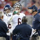 Chicago Bears quarterback Jay Cutler (6) talks with head coach Marc Trestman, right, during the second quarter of an NFL football game against the San Francisco 49ers in Santa Clara, Calif., Sunday, Sept. 14, 2014 The Associated Press