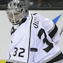 A puck gets past Los Angeles Kings goalie Jonathan Quick during the second period of Game 1 of an NHL hockey first-round playoff series against the San Jose Sharks Thursday, April 17, 2014, in San Jose, Calif The Associated Press