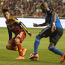 Sebastian Velasquez (26) goes for the ball along with San Jose Earthquakes forward Alan Gordon (16), during action between Real Salt Lake vs. San Jose Earthquakes, at Rio Tinto Stadium, Saturday, Oct. 11, 2014 The Associated Press