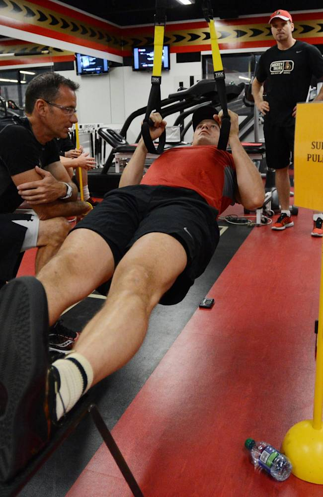Ottawa Senators' Jason Spezza takes part in physical fitness testing on the first day of training camp in Ottawa, Wednesday, Sept. 11, 2013