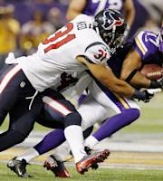 Minnesota Vikings wide receiver Jarius Wright (17) carries as Houston Texans defensive back Shiloh Keo (31) defends during the first half of an NFL preseason football game, Friday, Aug. 9, 2013, in Minneapolis. (AP Photo/Genevieve Ross)