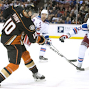 The Ducks' Corey Perry fires a shot past the Rangers' Dan Boyle during a game in Los Angeles on Wednesday night Jan. 7, 2014 The Associated Press