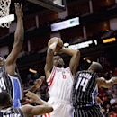 Houston Rockets power forward Terrence Jones (6) is fouled by Orlando Magic point guard Jameer Nelson (14) as he attempts a shot during the second half of an NBA basketball game on Sunday, Dec. 8, 2013, in Houston The Associated Press