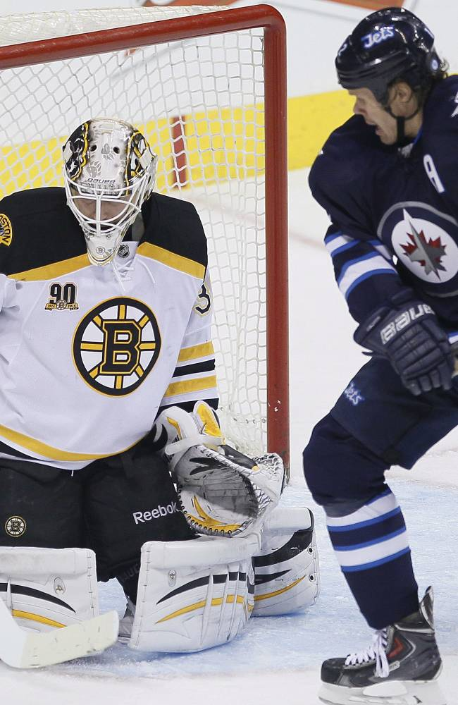 Little lifts Jets past Bruins 2-1 in shootout