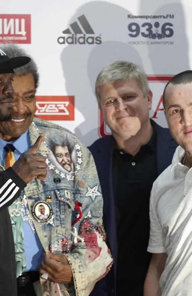 WBA cruiserweight regular champion Denis Lebedev, of Russia, right, and Guillermo Jones, of Panama, pose after a news conference in Moscow, Russia, on Monday, April 21, 2014. In May 2013 Jones stopped Lebedev on a technical knockout in 11th round. Then, the WBA handed the title back to Lebedev when Jones failed a drug test. Jones was made WBA champion-in-recess on the condition he must fight Lebedev again.  Rematch scheduled for April 25