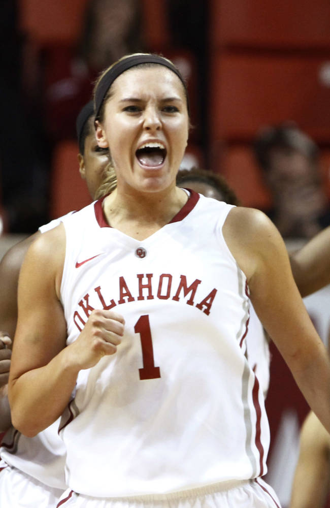 Oklahoma guard Nicole Kornet celebrates after scoring against Maryland Eastern Shore during the first half of an NCAA women's college basketball game in Norman, Okla., Sunday, Dec. 15, 2013. Oklahoma won 105-46