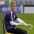 Manchester City's goalkeeper Joe Hart prepares for a training session ahead of Wednesday's Champions League group E soccer match between FC Bayern Munich and Manchester City, in Munich, southern Germany, Tuesday, Sept. 16, 2014