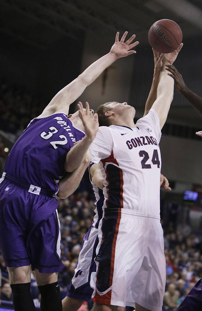 Portland's Ryan Nicholas (32) and Gonzaga's Przemek Karnowski (24) fight for a rebound during the second half of an NCAA college basketball game, on Wednesday, Feb. 5, 2014, in Spokane, Wash. Gonzaga won 71-66