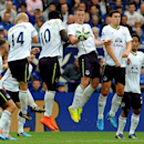 Everton players form a wall to block a free kick during the English Premier League soccer match between Leicester City and Everton at King Power Stadium, in Leicester, England, Saturday, Aug 16, 2014