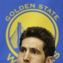 Golden State Warriors general manager Bob Myers takes questions from reporters during an NBA basketball news conference Monday, May 20, 2013, in Oakland, Calif. (AP Photo/Ben Margot)