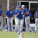Chicago Cubs second baseman Darwin Barney (15) leads warm up drills during spring training baseball practice, Friday, Feb. 21, 2014, in Mesa, Ariz The Associated Press