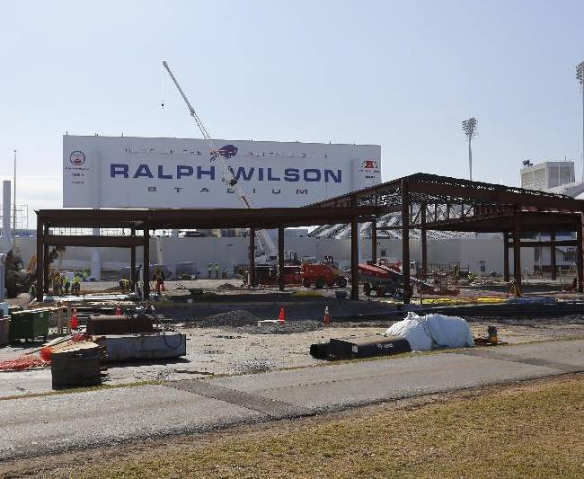 Work continues on the renovation of Ralph Wilson Stadium, home of the NFL football team Buffalo Bills, in Orchard Park, N.Y., Thursday, April 10, 2014. The new team store is being constructed in the foreground. Don't rule out Niagara Falls as a potential future home of the Bills. Several officials told The Associated Press that a newly formed Bills stadium task force of public and private leaders seeking to bolster the team's long-term viability is considering sites that would put it closer to the team's burgeoning Ontario fan base. The stadium is currently undergoing $130 million in upgrades