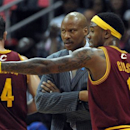 Cleveland Cavaliers guard Daniel Gibson (1) gestures to head coach Byron Scott after Gibson is ejected for two technical fouls against the Atlanta Hawks in the first half of an NBA basketball game at Philips Arena, in Atlanta on Monday, April 1, 2013. (AP Photo/David Tulis)