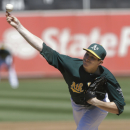 Oakland Athletics pitcher Jarrod Parker throws to a Texas Rangers batter during the third inning of a baseball game in Oakland, Calif., Wednesday, Sept. 4, 2013. (AP Photo/Jeff Chiu)