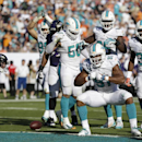 Miami Dolphins defensive end Cameron Wake (91) celebrates after sacking Baltimore Ravens quarterback Joe Flacco, left, during the second half of an NFL football game, Sunday, Dec. 7, 2014, in Miami Gardens, Fla The Associated Press