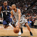 SAN ANTONIO, TX - MAY 19:  Tony Parker #9 of the San Antonio Spurs drives against Tony Allen #9 of the Memphis Grizzlies during Game One of the Western Conference Finals between the Memphis Grizzlies and the San Antonio Spurs during the 2013 NBA Playoffs on May 19, 2013 at the AT&T Center in San Antonio, Texas.  (Photo by Andrew D. Bernstein/NBAE via Getty Images)