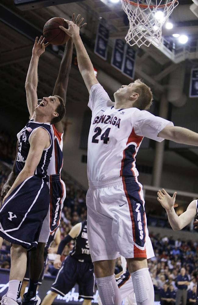 Gonzaga's Przemek Karnowski (24) blocks a shot by BYU's Skyler Halford during the first half of an NCAA college basketball game Saturday, Jan. 25, 2014, in Spokane, Wash