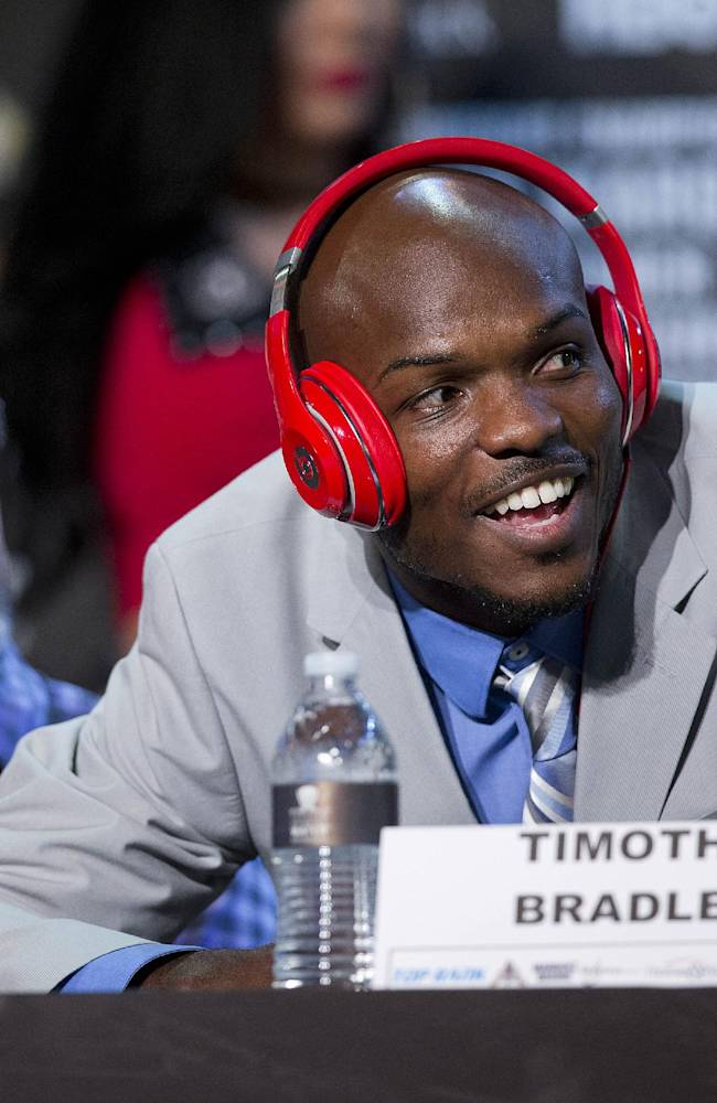 Boxer Timothy Bradley responds to a comment during a news conference, Wednesday, Oct. 9, 2013, in Las Vegas.  Bradley is scheduled to defend his WBO welterweight title against Juan Manuel Marquez on Saturday