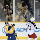 Nashville Predators center Mike Ribeiro (63), celebrates after scoring a goal against the Columbus Blue Jackets in the second period of an NHL hockey game Saturday, Nov. 29, 2014, in Nashville, Tenn. Columbus Blue Jackets left wing Scott Hartnell (43) ska