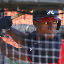 Atlanta Braves outfielder B.J. Upton works in the batting cage during the full-squad first workout for the baseball team at spring training, Wednesday, Feb. 19, 2014, in Kissimmee, Fla The Associated Press