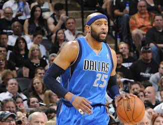 SAN ANTONIO, TX - MAY 4: Vince Carter #25 of the Dallas Mavericks dribble the ball against the San Antonio Spurs in Game Seven of the Western Conference Quarterfinals during the 2014 NBA Playoffs on MAY 4, 2014 at the AT&T Center in San Antonio, Texas