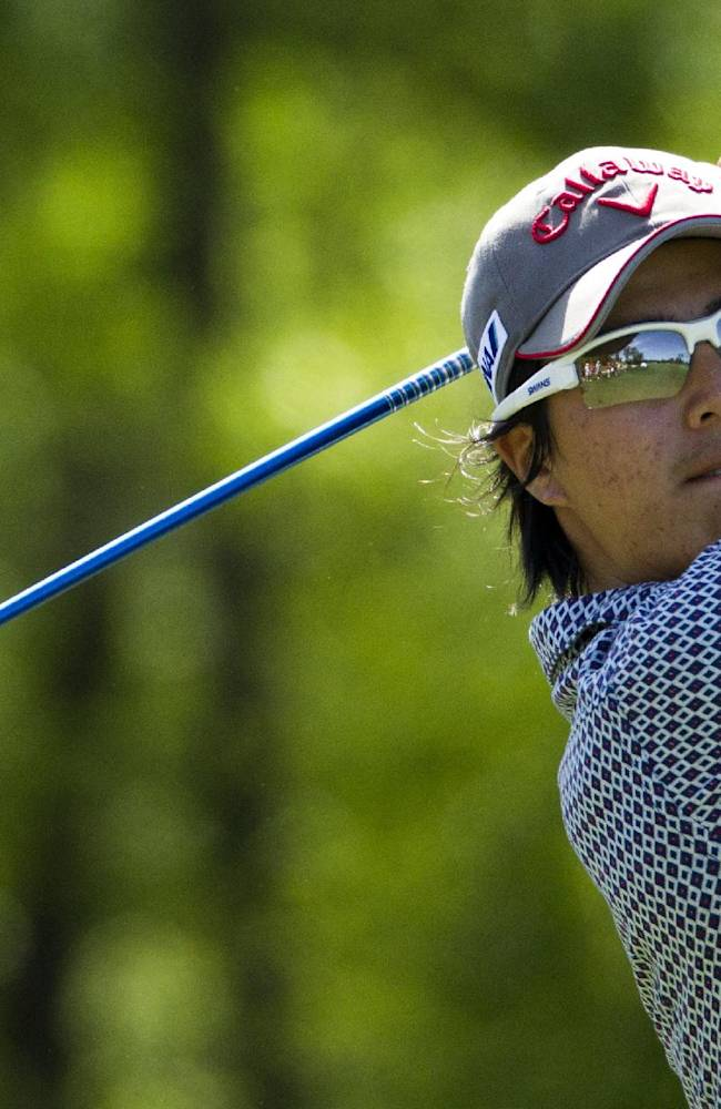 Ryo Ishikawa tees off on the 12th hole during the second round of the Houston Open golf tournament, Friday, April 4, 2014, in Humble, Texas. (AP Photo/Patric Schneider)