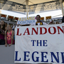 Los Angeles Galaxy fan Kevin Graham holds a sign for Los Angeles Galaxy's Landon Donovan prior to the game against the Seattle Sounders of an MLS soccer match in Carson, Calif., Sunday, Oct. 19, 2014 The Associated Press