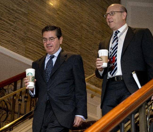 Washington Redskins football team owner Daniel Snyder, left, and Tampa Bay Buccaneers football team co-chairman Joel Glazer arrive for the NFL fall meeting in Washington, Tuesday, Oct. 8, 2013. NFL owners hold their annual fall meeting, with discussions about the upcoming outdoor Super Bowl in New Jersey and player safety initiatives on the agenda