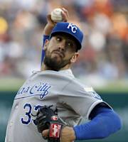 Kansas City Royals pitcher James Shields delivers against the Detroit Tigers in the first inning during the second game of a doubleheader baseball game, Friday, Aug. 16, 2013, in Detroit. (AP Photo/Duane Burleson)