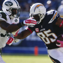 San Diego Chargers tight end Antonio Gates, right, runs around New York Jets cornerback Antonio Allen during the second half of an NFL football game, Sunday, Oct. 5, 2014, in San Diego The Associated Press