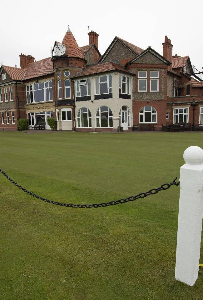 The clubhouse at Royal Liverpool Golf Club is seen before the British Open golf championships, Hoylake, England, Wednesday, April 23, 2014. The 2014 Open Championship which will be played at Royal Liverpool from July 17-20, 2014