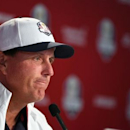 Sep 28, 2016; Chaska, MN, USA;  Team USA golfer Phil Mickelson addresses the media before their practice round for the 41st Ryder Cup at Hazeltine National Golf Club. Mandatory Credit: John David Mercer-USA TODAY Sports