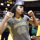 FILE - In this March 10, 2012, file photo, Baylor center Brittney Griner (42) celebrates after the victory over Texas A&M in an NCAA college basketball championship game at the women's Big 12 Conference tournament in Kansas City, Mo. The Lady Bears are ranked at the top of the preseason women's basketball poll by The Associated Press for the second straight year. Baylor had the No. 1 spot for the entire season last year en route to its second national championship and a 40-0 record. (AP Photo/Jeff Tuttle, File)