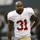 San Francisco 49ers' Donte Whitner works before the NFL football NFC Championship game against the Seattle Seahawks Sunday, Jan. 19, 2014, in Seattle. (AP Photo/Marcio Jose Sanchez)