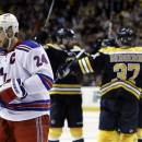 New York Rangers right wing Ryan Callahan (24) skates away as the Boston Bruins celebrate a goal during the second period in Game 2 of the NHL Eastern Conference semifinal hockey playoff series in Boston, Sunday, May 19, 2013. The Bruins won 5-2. (AP Photo/Elise Amendola)