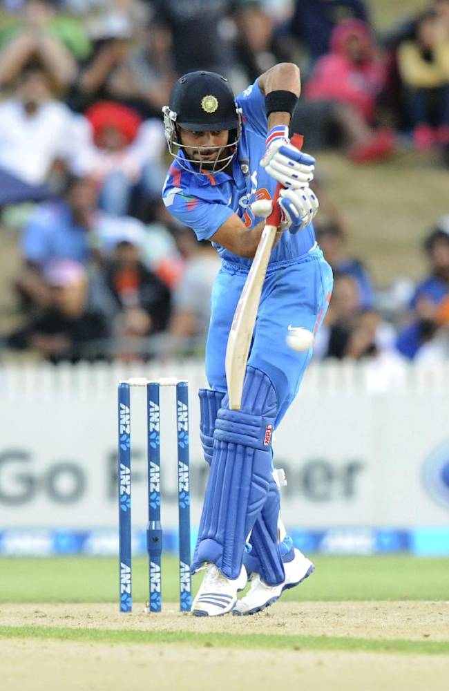 India's Virat Kohli bats against New Zealand during their second one-day international cricket match, at Seddon Park, in Hamilton, New Zealand, Wednesday, Jan. 22, 2014