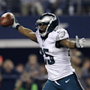Philadelphia Eagles running back LeSean McCoy (25) celebrates as he enters the end zone for a touchdown against the Dallas Cowboys during the second half of an NFL football game, Thursday, Nov. 27, 2014, in Arlington, Texas The Associated Press